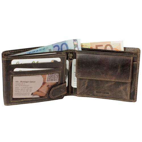 Leder Geldbörse Geldbeutel Rustikal Braun Cognac Beige Leder Querformat 5453