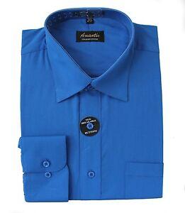 Mens-Dress-Shirt-Plain-Royal-Blue-Modern-Fit-Wrinkle-Free-Cotton-Blend-Amanti