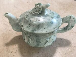Vintage Chinese Green Stone Small Teapot With Hand Carved Flowers & Leaves