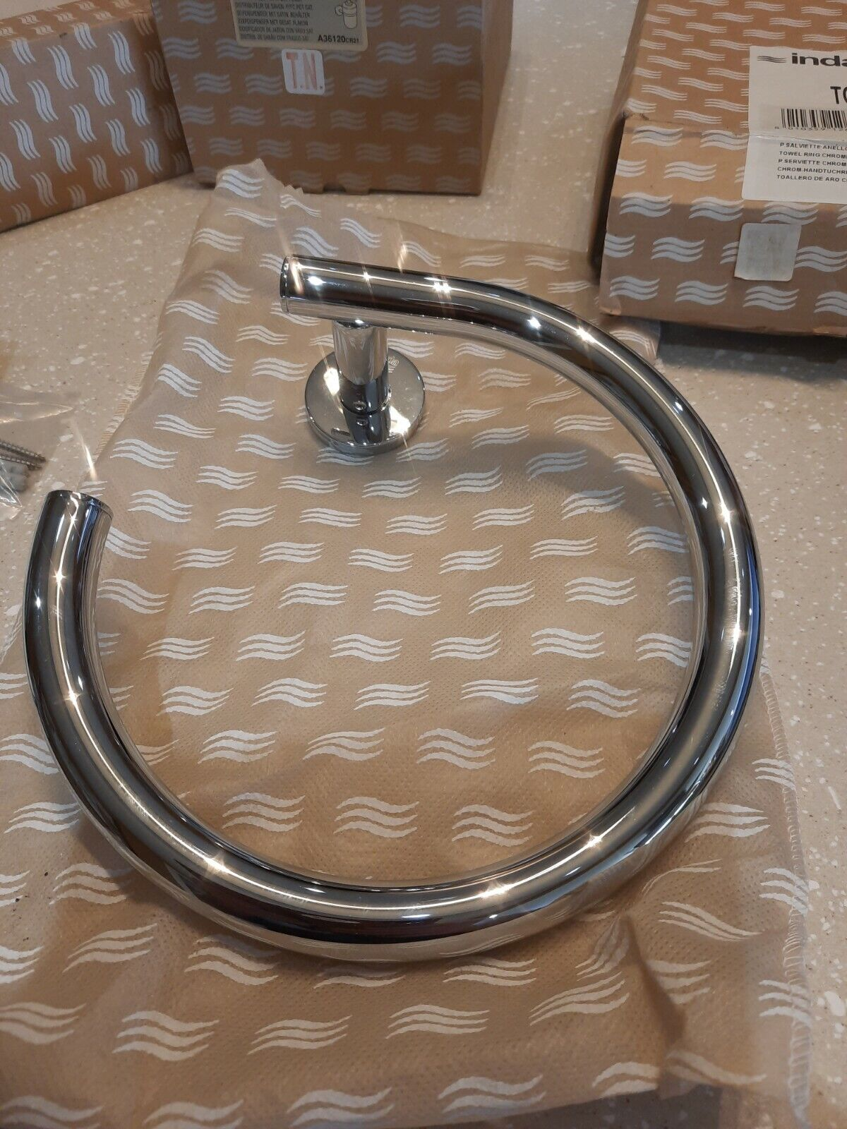 INDA TOUCH 4600 , TOWEL RING , 8 INCH ,POLISHED CHROME