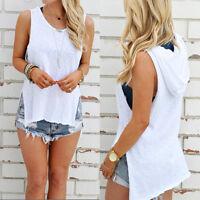 Sexy Women Summer Hooded Sleeveless Vest Blouse Beach Tank Tops T-Shirt S/M/L/XL