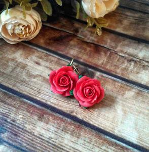 Green Red Swirl Handmade Polymer Clay Flower Earrings