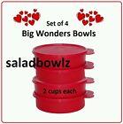 TUPPERWARE BIG WONDERS 4-Bowl Set 2 cup Wonder Bowls Cereal Snacks Red fREEsHIP!