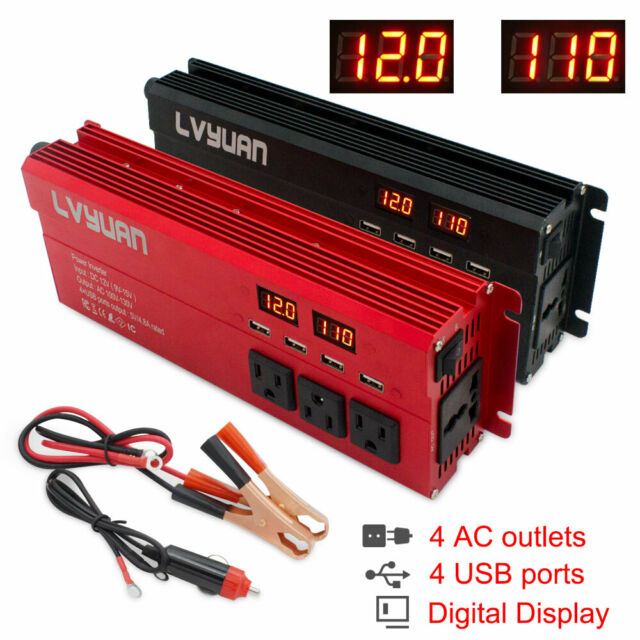 1500W Car Power Inverter Converter DC 12V To AC 110V 4 USB Ports Digital Display