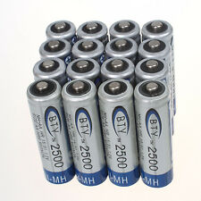 High Quanlity 16 pcs BTY Ni-MH AA 2500mAh 1.2V Rechargeable Battery Set