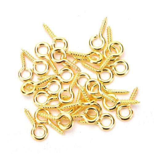 300 Pcs//Set Tiny Mini Eye Pins Eyepins Hooks Eyelets Metal Screw Threaded Peg