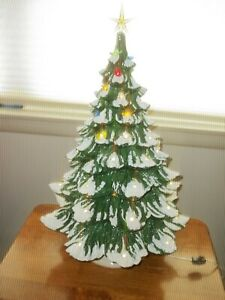 """PICK UP ONLY NJ Vintage 24"""" Ceramic Christmas Tree Lighted Music Box Bows Birds"""