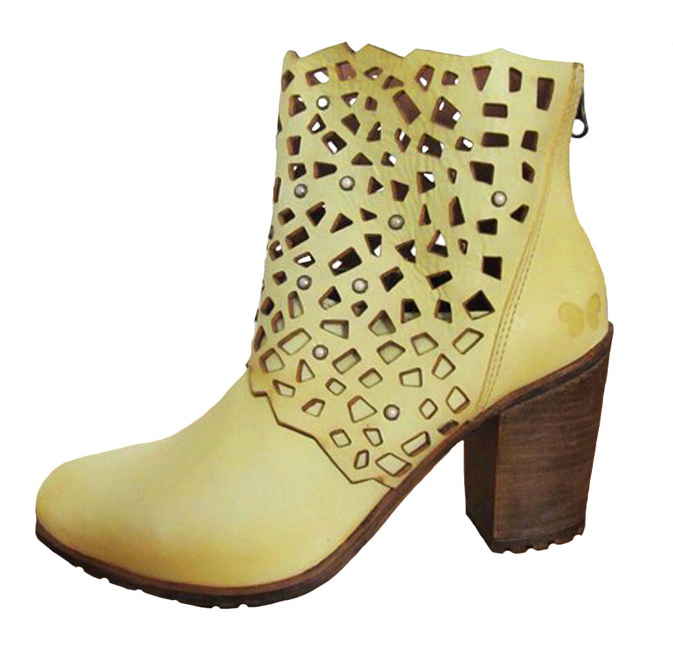 Felmini NEW A027 Iris laser cut mustard yellow genuine Leder ankle boots 3-8