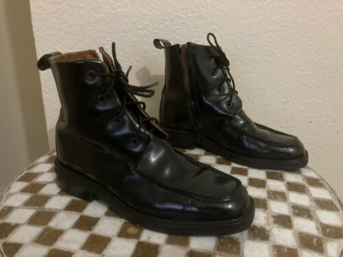 GUCCI BLACK LACE UP ZIP UP BOOTS 7.5  B