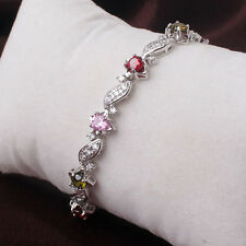 "7"" 18k White Gold Filled Garnet/Pink/Topaz Rhinestone Crystals Ladies Bracelet"