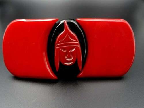 Bakelite Red & Black Belt Buckle - Asian Theme Wa… - image 1