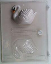 3-D MEDIUM SWAN CLEAR PLASTIC CHOCOLATE CANDY MOLD AO017