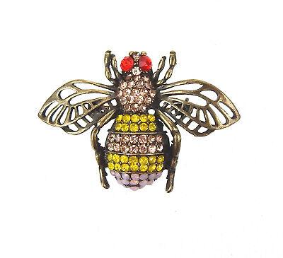 Ella Jonte Brosche gold Ziernadel goldene Schleife mit Perle und Strass Stein
