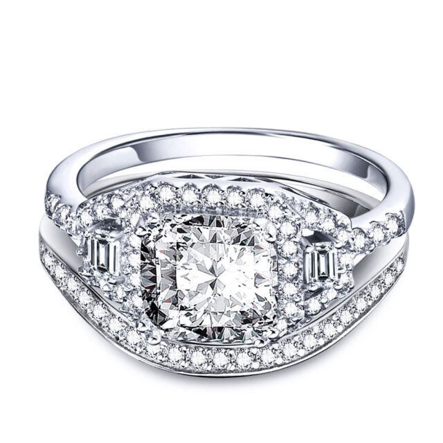 3CT Round Brilliant Cut CZ Wedding Engagemet Set Ring in 925 Sterling Silver