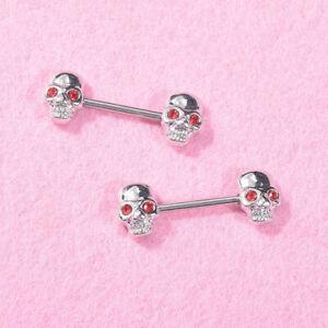 2Pcs-Women-Surgical-Steel-Barbell-Skull-Nipple-Rings-Helix-Piercing-Body-JewelPF