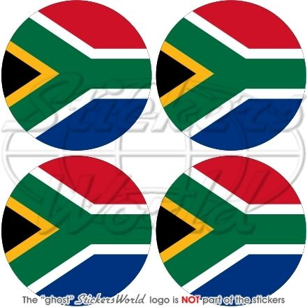 """S.African Flag Roundel 50mm Decals x4 Vinyl Stickers 2/"""" SOUTH AFRICA"""