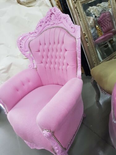 ARMCHAIR - BAROQUE STYLE ARMCHAIR PINK & PINK # F30MB140