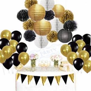 Black Gold White Party Decorations Tissue Paper Pom Pom Honeycomb