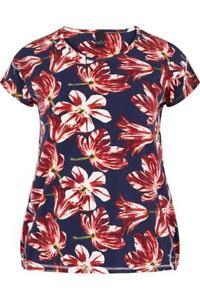 Tolles Gr T Adia 48 Fashion shirt l Floraler Blau Print Rot Weiß 50 f4Hnq5q
