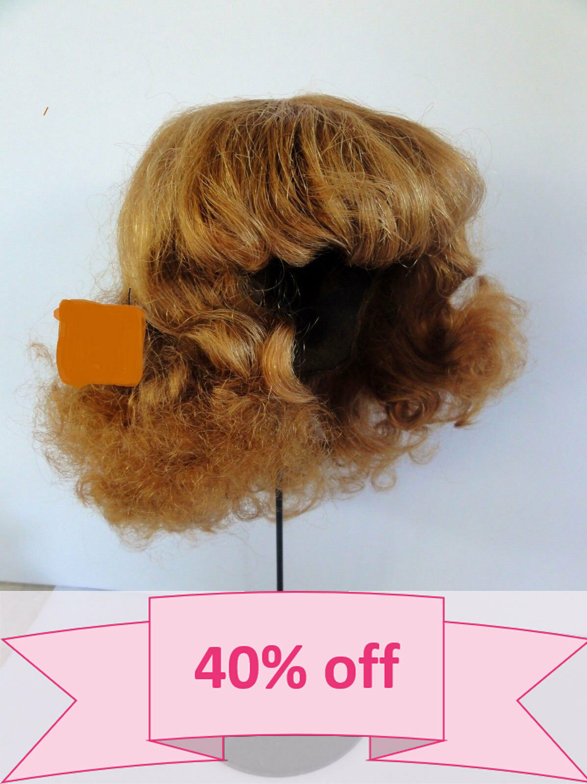 -40% DISCOUNT -Human Hair DOLL WIG size 19.5   49.5 cm . Short rosso-Marrone hair.