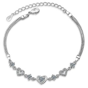 Heart-Stunning-Crystal-Charm-Bracelet-925-Sterling-Silver-Womens-Girls-Jewellery