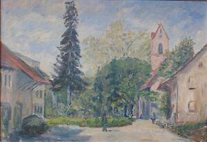 Pfaelzer-Landschaft-mit-Kirche-und-Personen-Impressionist