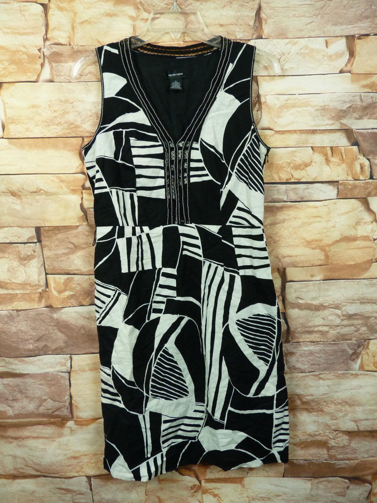 Spense  Black & White Linen Blend Sleeveless Sheath Dress Size 8