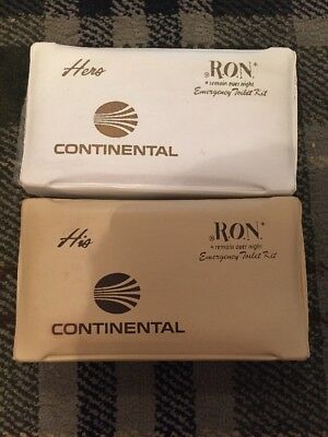 Aeronautica Collectables Sunny Two Vintage Continental Airlines Remain Over Night Comfort Packs His & Hers