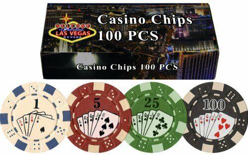 100 Pack Welcome to Las Vegas Bestselling Poker Chips Gift Set Straight Flush