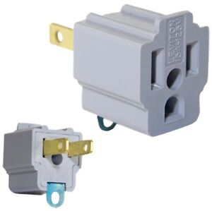 Details about 1 AC OUTLET ADAPTER 3 prong Convert 2 blade grounding Cheater  Plug LEVITON 274