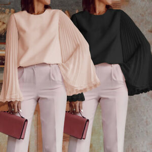 Women-Casual-Loose-Solid-T-shirts-Pleated-Long-Bell-Sleeve-Tops-Blouse-Plus-Size