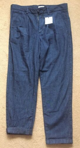 NEXT MEN BLUE SOFT COTTON CHINO PLEATED CROPPED TROUSERS W 28S Brand New