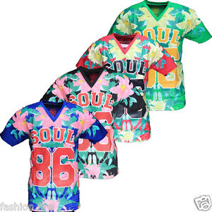 Mens Branded Soulstar American Baseball Football Floral Mesh Summer T
