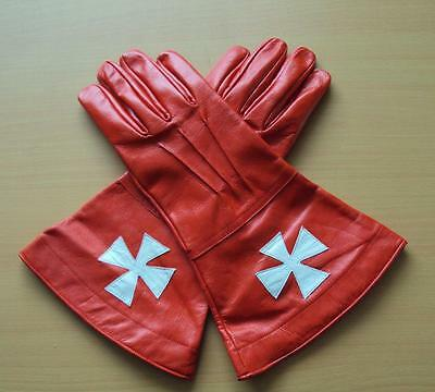 A Knights Templar Red Leather Gauntlets - Perfect For Re-enactment Stage or LARP