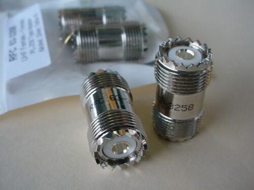 2 RFC  Model 63-3258 Teflon® Silver PL-258 Double Female UHF Adapter