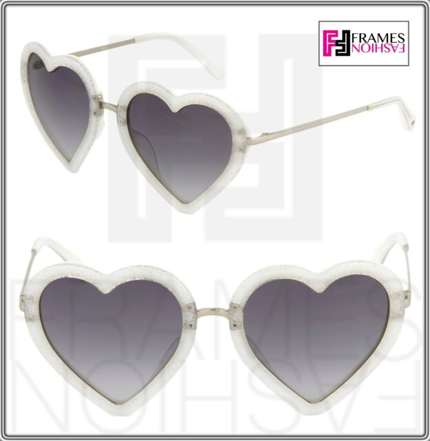d3434b0b341 Frequently bought together. LINDA FARROW MARKUS LUPFER Heart Grey Silver  Glitter ML4 Sunglasses Women