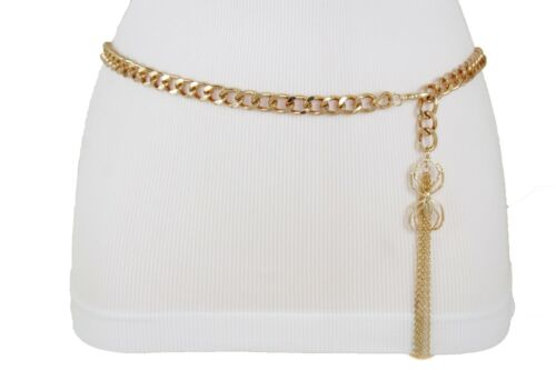 Women Skinny Belt Trendy Waistband Long Fringes Gold Metal Chain Spider M L XL