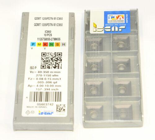 ISCAR QDMT 1205PDTN-M IC950 x10pcs milling carbide inserts QUAD2000 QDMT1205PDTN