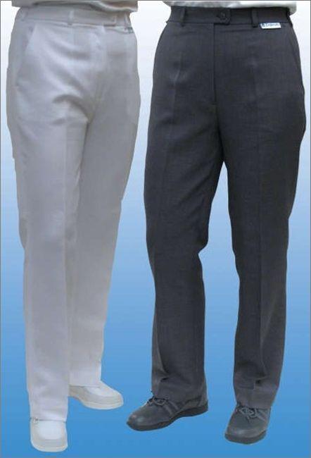 Emsmorn Ladies Bowls Bowlswear Clothing Bi-Stretch White Grey trousers SLWX