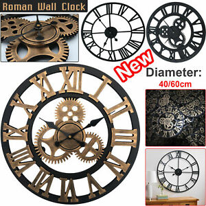 LARGE-TRADITIONAL-VINTAGE-STYLE-WALL-CLOCK-ROMAN-NUMERALS-ROUND-OPEN-FACE