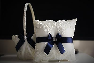 c6bfefdd35fb7 Ivory Navy Blue Flower Girl Basket + Ring Bearer Pillow Set | eBay