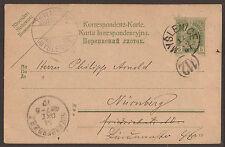 Austria/Polonia. 1907, 5h CARTA PER NURNBERG con Myslenice Annulla.