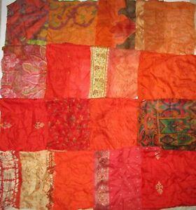 LOT-PURE-SILK-Antique-Vintage-Sari-Fabrics-REMNANT-16-pcs-8-034-SQUARES-Orange-DOLL
