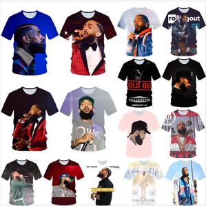 Fashion-Women-Men-3D-Print-Rapper-nipsey-hussle-Casual-T-Shirt-Short-Sleeve-Tops