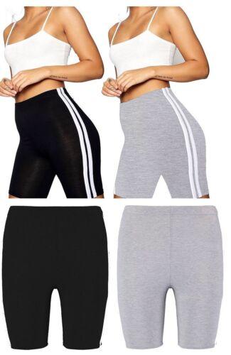 New Womens Ladies Cycling Gym Stripe Shorts Leggings Active Fashion Casual