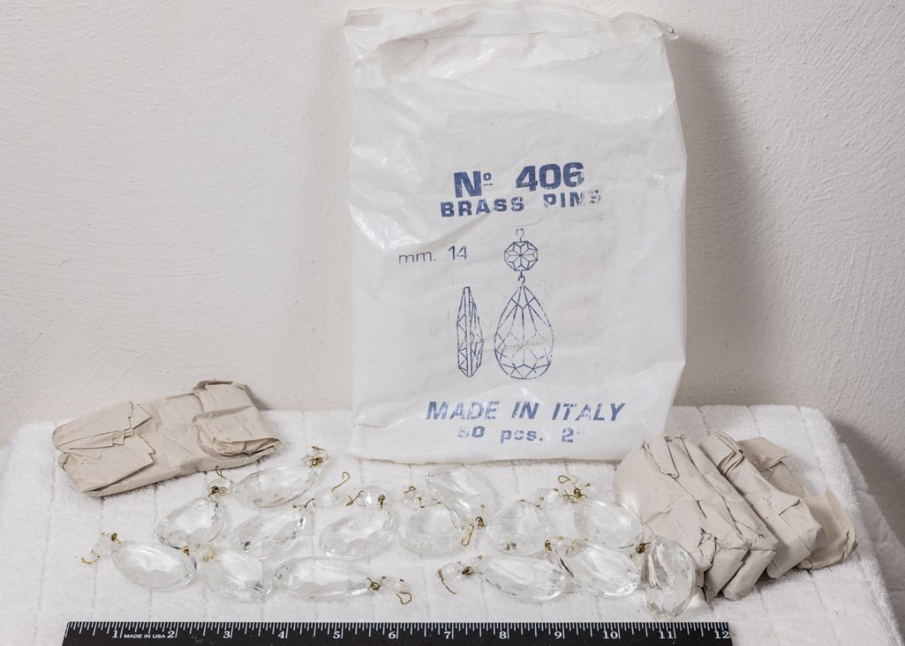 Vintage Lote de 28 Crystal Prisma 14mm Lágrima Bolitas Araña Hecho en Italia g25