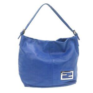 FENDI Nappa Leather Mamma Baguette Shoulder Bag Blue Auth rd1784