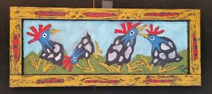 John-Sperry-Southern-Primitive-Framed-Folk-Art-Painting-Birds-034-Dancing-Guineas-034
