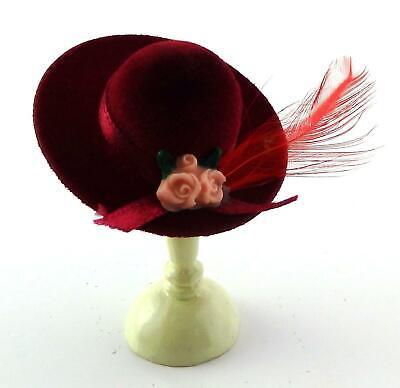 Casa De Muñecas Sombrero Para Dama Roja Con Pluma Accesorio Miniatura sombrerera Shop
