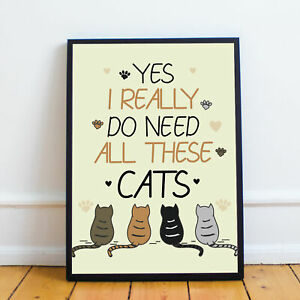 dc8ab5047ba11 Details about Cat Art Cat Print Gift For Cat Lovers Home Decor Cat Pictures  Cat Gifts Wall Art